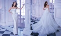 Sheath/Column Reference Images Strapless 2015 Luxury Crystals Beading Wedding Dresses Sheath Strapless Piping Tulle Detachable Sweep Train Backless Demetrios Winter Bridal Gowns 563