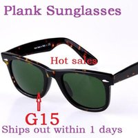 Wholesale High Quality Plank Sun glasses Tortoise Frame Green Lens Metal hinge Sunglasses Mens Womens Sunglasses New unisex Sun glasses Glass Lens