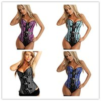 Wholesale Whosale Sexy Corsets Panties Thong Brocade Buckle Burlesque Corset Fuchsia Blue Light Blue Black available C8276