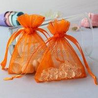Wholesale 50pcs bag Orange color quot x3 quot x9cm Strong Sheer Organza Pouch Wedding Jewelry Gift Bags PUH PUH