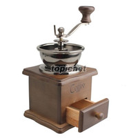 Wholesale ASLT Mini Manual Coffee Mill Wood Stand Bowl Antique Hand Coffee Bean Grinder order lt no track