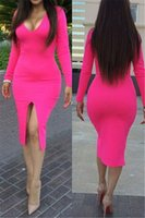 Cheap V Neck Women Dresses Slim Fit Dresses For Lady Three Colors To Choose Polyester And Spandex Fabric Chic Women Clothes Front Split 6740