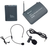 Wholesale 2015 Professional Super Wireless Microphone Reciver Transmitter System Set With Clip on Heads Computer Headset Lavalier SH