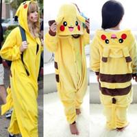 Wholesale Halloween Costume Winter Autumn Gift Pikachu Kigurumi Pajamas Animal Suits Cosplay Outfit Adult Garment Cartoon Jumpsuits Unisex Anima