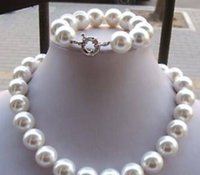 Wholesale 14MM white south sea shell pearl necklace bracelet LL002