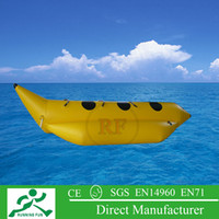 Wholesale New design colorful pvc tarpaupin material inflatable towable banana boat with one free ce or ul air pump for water games