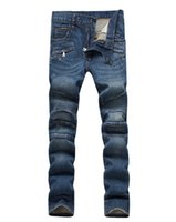 acid wash jeans - New Balmain Milan Catwalk Shows Stretch Blue Fashion Shiny Jeans Acid Washed Skinny Biker Jeans Men
