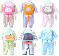 Wholesale 2016 Infants Baby Rompers Bodysuits Boys Girls Long Sleeve Animal Romper Hat socks Set Cotton New Born Babys Clothing colors