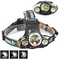 Wholesale 2015 Boruit RJ LM T6 R2 LED mode Rechargeable Waterproof Camping Fishing Headlamp Headlight Head Torch Light Lamp
