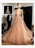 Wholesale Hot Best Sale Elie Saab Spring Summer Ball Gown Wedding Dresses Deep V Neck Sleeveless BacklessTulle Floor Length Sexy Bridal Gowns