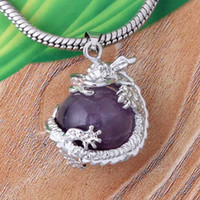 amethyst crystal dragon - Charms Silver Plated Amethyst Rose Quartz Opalite Opals Crystal Stone Dragon Round Beads Pendants For Necklace Jewelry