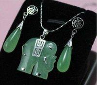 Cheap Beautiful! green jade elephant Pendant drop lucky earring necklace Sets #tz-15 free shipping!