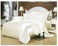 Wholesale Silk cream bedding set white satin super king size queen full twin quilt duvet cover bed in a bag sheet fitted bedspread