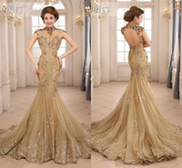 High Neck sequin appliques - 2015 Newest Sexy Mermaid Sheer High Neck Backless Capped Sleeve Sequins Lace Applique Beads Chapel Train Tulle Prom Evening Dresses