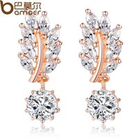 Wholesale Bamoer HOT Trendy Jewelry Women Drop Earring Rose Gold Plated with CZ in Leaf Shape for Special Novelty Earring JIE044