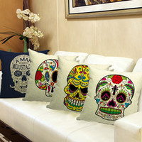 pillow covers - Skull Printed Cushion Covers x45cm x17 Linen For Sofa Decorative Throw Pillow Case Cotton Pillowcover Sofa Decor Couch
