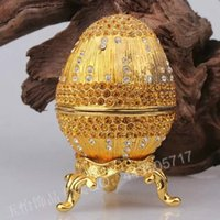 Wholesale new popular metal craft with diamond beautiful america Easter egg jewelry boxes home decoration russia egg gift for friend and family