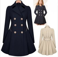 american clothing - Fall Winter Clothes for Women New European and American Commuter Slim Lapel Neck Double Breasted Ruffle Pleated Trench Coats for Women