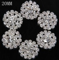 decorative buttons - 20MM Metal Button Decorative Clear Rhinestones Silver Gold Color Metal Button Flower Cluster Hair Wedding Embellishment