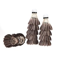 Wholesale 12PCS Outdoor Sports Fitness Shuttlecocks Badminton Goose Feather Cork Black