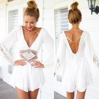 Wholesale New Summer style Mono Women V Neck Lace Crochet Beach Playsuit White Black Lace Ladies Loose rompers womens jumpsuit