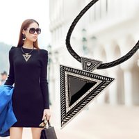 Asian & East Indian vintage costume jewelry - 2014 Vintage Jewelry Triangle Statement Necklace Rhinestone Necklaces pendants Leather Chain Dress Costume Item N14