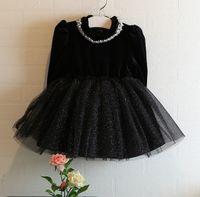 Wholesale Christmas Wholesale Tutu Dress - Fall Winter Black Girl Party Dress %100 Good Quality Long Sleeve Children Princess Dresses 100-140 Kids Clothing WD327