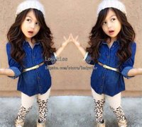 Spring / Autumn baby girl clothing sets - Child Suit Children Set Kids Suit Outfits Denim Shirts Leopard Print Leggings Children Clothes Kids Clothing Baby Suit Kids Sets Girl Dress