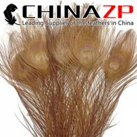 Les brunes France-Le principal fournisseur CHINAZP Artisanat Factory 25 ~ 30cm (10 ~ 12inch) Plein de qualité Full Eye Dyed Light Brown Peacock plumes de la queue pour les métiers de bricolage