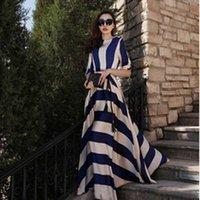 Cheap Stripe Summer Maxi Long Dress O Neck Best summer 1 2 sleeve stripe dress for women