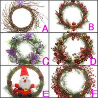 dried flowers - Diameter cm Christmas Garlands Christmas Wreath with Bows Cheap Christmas Decorations Festive Party Supplies Cheap Hot Sale DWC002