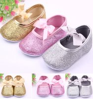 Wholesale Hot Sale Baby Shoes Bow knot Princess Soft Bottom Shoes First Walkers Shoes