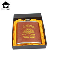 alcohol gift box - Luxury oz Stainless Steel Russian Whiskey Hip Flask Leather Personalized Flask for Alcohol with Box as Gift Travel Drink K0042