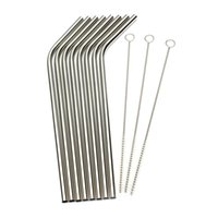 Wholesale Kitchen Accessory Stainless Steel Metal Drinking Straw Reusable Straws Cleaner Brush Set