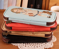leather supplies wholesale - Fashion Hot Retro pencil cases office school supplies pen pink panda adventure time Simple Leather doll creative capacity