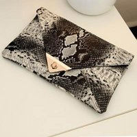 Wholesale Handbags New Fashion Women s Synthetic Leather Bag Snake Skin Envelope Bag Day Clutches Purse Evening Bag YK80