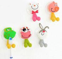 Wholesale Hot Sale cute Cartoon sucker toothbrush holder suction hooks