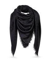 Wholesale Top Quality Lady Solid Black Mono Shawl M71329 Women cm Square Scarf Fashion Designer Wrap Wool Cotton