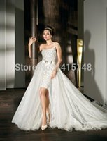 Cheap A Line Crystals Wedding Dresses Vestidos De Noiva Strapless One Shoulder Detachable Chapel Train Tulle Demetrios Bridal Dress
