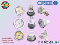 Wholesale 1X LED spotlight W W W CREE Chip Led Bulb lamp GU10 GU5 E27 MR16 E14 AC110V AC220V AC90 V Dimmable