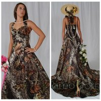 Wholesale Halter A Line Camo Bridal Dresses Chapel Train Camouflage Zipper Back Natural Slim Bridal Gowns Custom Online Vestidos De Novia Cheap