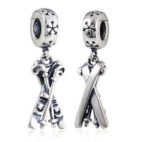 Wholesale New DIY Skis Charms Original Authentic Sterling Silver Beads fit for Pandora bracelets Necklaces