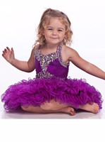 Wholesale Cupcake Pageant Dresses Girls Purple Ball Gowns Organza Beaded Crystals Short Children Flower Girl Special Party Dress