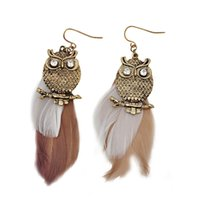 Wholesale hot Fashion Jewelry owl feather earrings