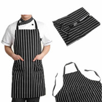 bib coverall - Adjustable Black Stripe Bib Apron with Pockets Chef Waiter Kitchen Cook Tool