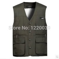 berber vest - Fall vest Men berber fleece thickening plus velvet multi pocket waistcoat male thermal vest male