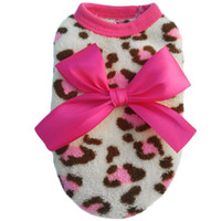 Wholesale Pink color Pet Dog Puppy Cat Winter Leopard Clothes Cute T Shirt Soft Warm Coat