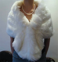 faux fur - Hot Cheap Bridal Wraps White Bridal Faux Fur Wrap Shrug Stole Shawl Cape New Arrived for Wedding Dresses Custom Made