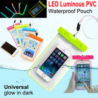 Wholesale Universal Luminous Underwater Phone Bag Waterproof Pouch Bag Dry Case Cover For Cell Phone iPhone plus S6 edge S5 Note