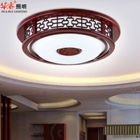 antique wooden lamps - round LED faux chinese style antique carved acrylic indoor lighting fashion rubber wood wooden lamp hotel lobby ceiling lamp brief balcony